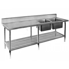FED Double Right Sink Bench with Pot Undershelf - DSB7-2400R/A