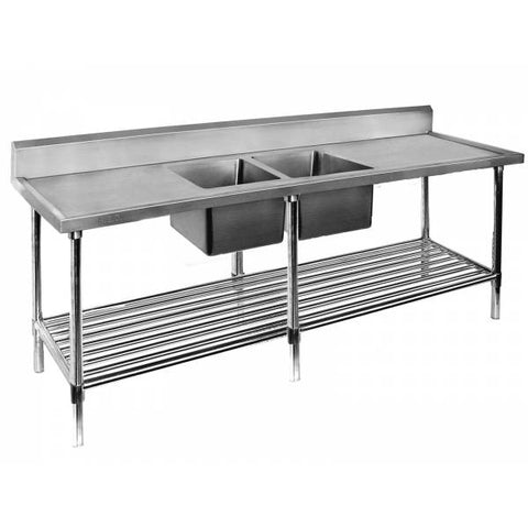 FED Double Centre Sink Bench with Pot Undershelf - DSB7-2400C/A