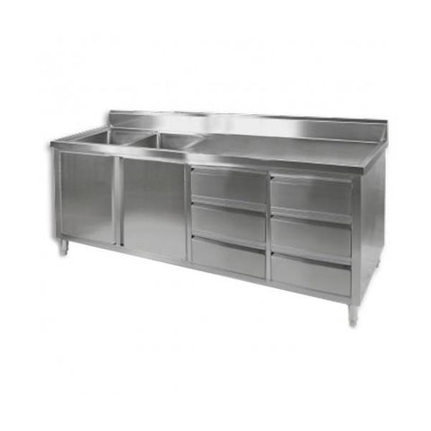 FED Sink Cabinet with Left Double Bowls - DSC-2400L-H