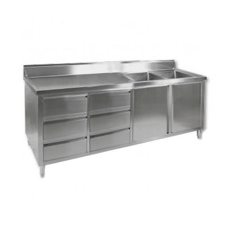 FED Sink Cabinet with Right Double Bowls - DSC-2400R-H