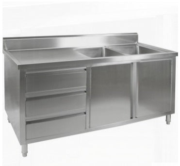 FED Sink Cabinet with Right Double Bowls - DSC-1800R-H
