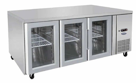 Atosa Stainless Steel 3 Glass Doors Bench Fridge - EPF3731