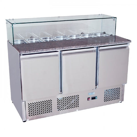Atosa Stainless Steel 3 Solid Doors Prep. Fridge / Glass Cover Salad Bar - ESL3864 - OzCoolers