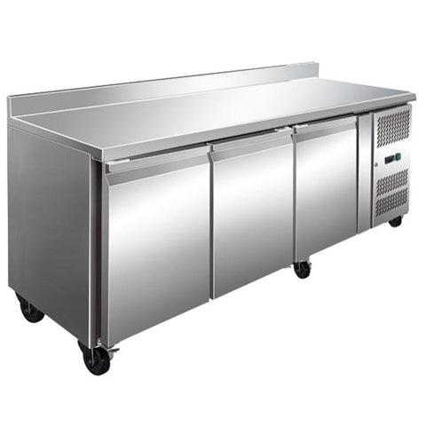 FED Three Door Bench Fridge With Splashback 386L - FE3100TFSP