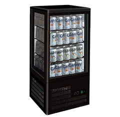 FED Countertop Display Fridge Black Four-Sided - TCBD78B - OzCoolers