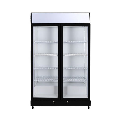 Bromic Flat Glass Door LED Upright Display Eco Chiller Black - GM1000LB - OzCoolers