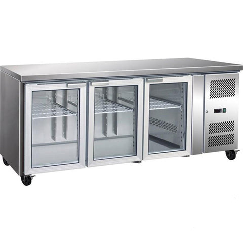 FED TROPICALISED 3 Glass Door Gastronorm Bench Fridge - GN3100TNG