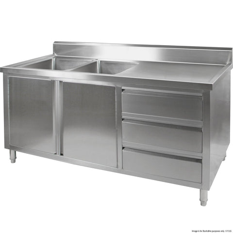 FED Sink Cabinet with Left Double Bowls - DSC-1800L-H