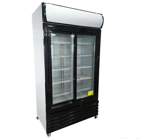 FED Colourbond Upright Drink Fridge Large Two Glass Door - Black  - LG-1000BG - OzCoolers