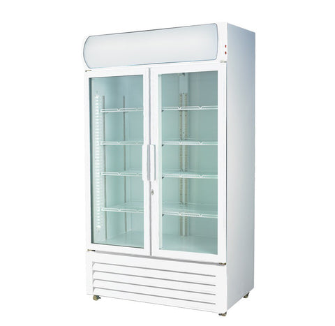 FED Colourbond Upright Drink Fridge Large Two Glass Door - LG-1200GE - OzCoolers