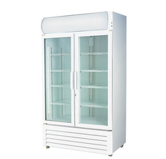 FED Colourbond Upright Drink Fridge Two Glass Door 750 Litre - LG-730GE - OzCoolers