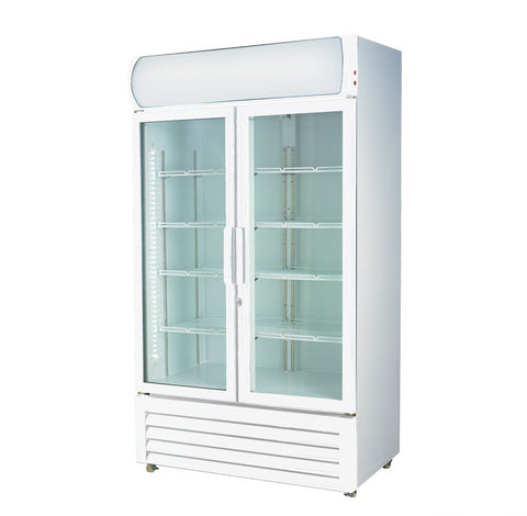 FED Colourbond Upright Drink Fridge Large Two Glass Door  - LG-1000GE - OzCoolers