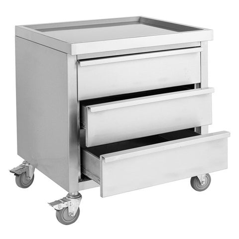 FED Stainless Steel Mobile Work Stand with 3 Drawers - MDS-6-700