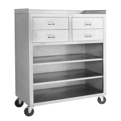 FED Stainless Steel Mobile cabinet with 4 Drawers and 3 Shelves - MS116