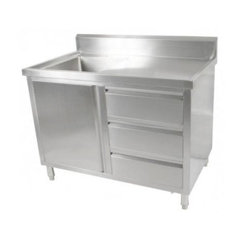 FED Kitchen Tidy Cabinet With Left Sink - SC-7-1200L-H