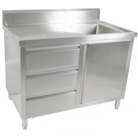 FED Kitchen Tidy Cabinet With Right Sink - SC-7-1200R-H