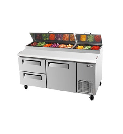 SKIPIO Pizza Prep Table 1 Door 2 Drawer Air Over Pans - CTPR-67SD-D2