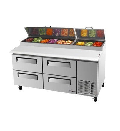SKIPIO Pizza Prep Table 4 Drawer Air Over Pans - CTPR-67SD-D4
