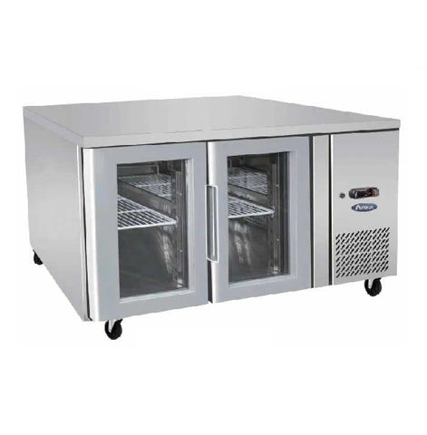 Atosa Stainless Steel 2 Glass Doors Bench Fridge - EPF3721