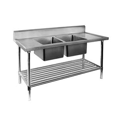 FED Double Centre Sink Bench with Pot Undershelf - DSB6-1200C/A - OzCoolers