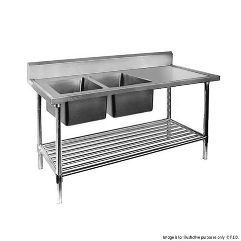 FED Double Left Sink Bench with Pot Undershelf - DSB6-1500L/A - OzCoolers