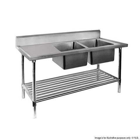 FED Double Right Sink Bench with Pot Undershelf - DSB6-1500R/A - OzCoolers