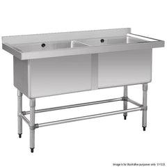FED Stainless Steel Double Deep Pot Sink - 1410-6-DSB