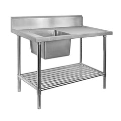 FED Single Left Sink Bench with Pot Undershelf - SSB7-1200L/A
