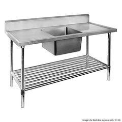 FED Single Centre Sink Bench & Pot Undershelf - SSB7-1800C/A