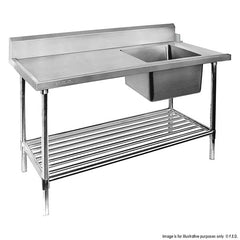 FED Right Inlet Single Sink Dishwasher Bench - SSBD7-1200R/A