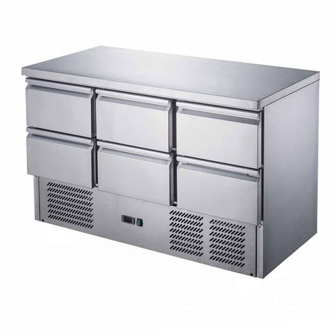 FED-X Six Drawer Compact Workbench Fridge - XGNS1300-6D