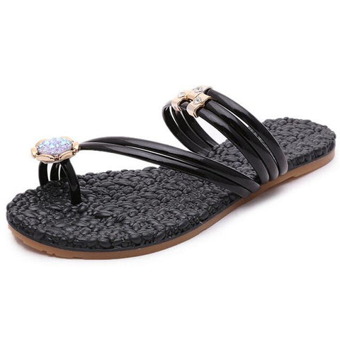 Woman Slides 2017 Fashion Crystal Black Silver Summer Flip Flop Sandals Flat with Shoes Women Slippers Size 41 XWT666