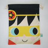 Childs drawstring bag with super hero face on the front and a super hero symbol design on the reverse.