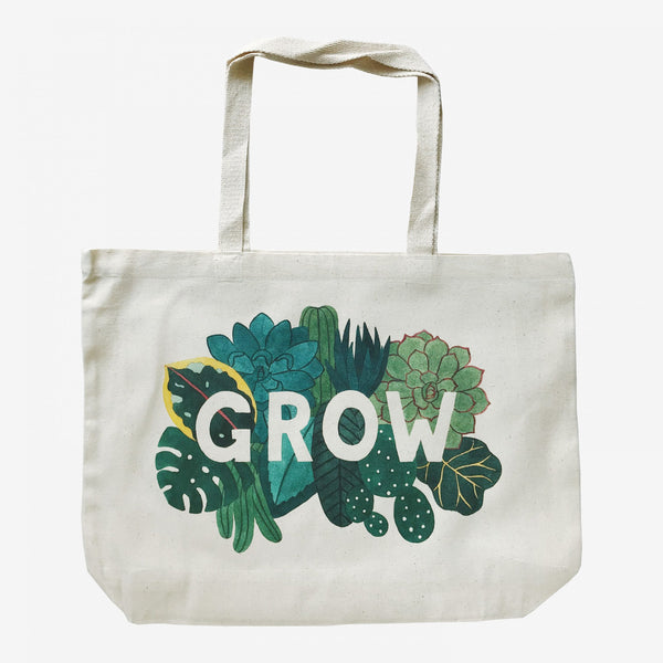 Cotton over the shoulder bag with plant illustration with the text 'Grow' in the centre.