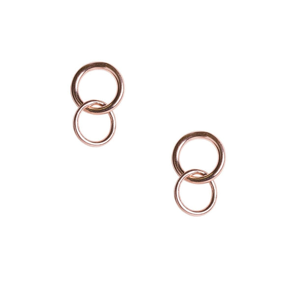 Two perfect circles of rose gold plated sterling silver wire stud earrings.