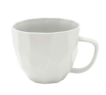 This is a plain white cup and has smooth soft angles around the outside.