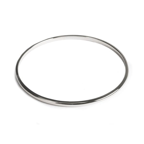 Solid silver bangle with a flat back and curved round edges to the front.