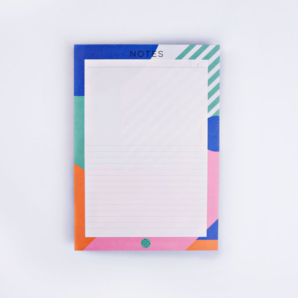 Brightly patterned Miami inspired bordered notepad.