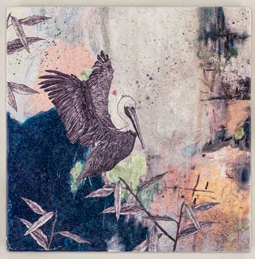 Brown Pelican - Tumbled Limestone Tile Placemat