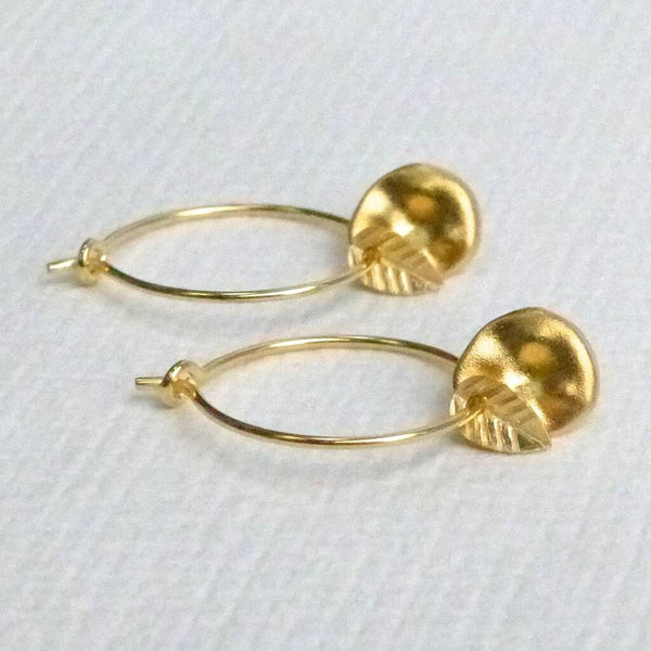 Gold Metallic Leaf Disc Hoop Earrings