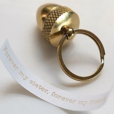 Secret Message Acorn Locket Keyring