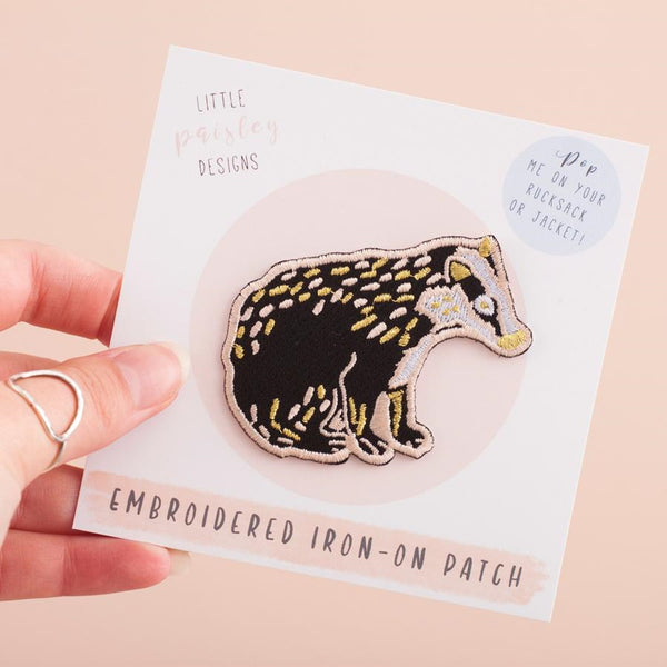 British Badger Embroidered Iron On Patch
