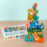 Brightly painted wooden animal stacking toy