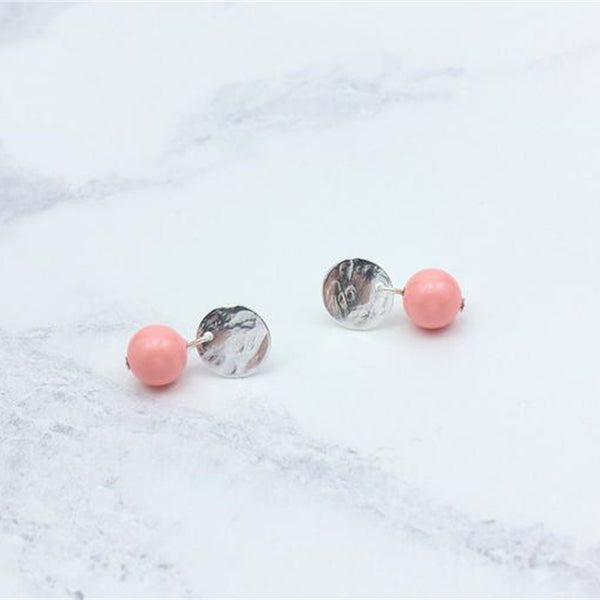 Stud Earrings Silver Coin Charm Swarovski Coral Pink Bead