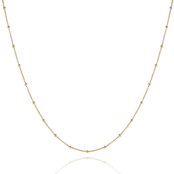 Chain necklace with tiny beads, made from rose gold plated sterling silver.