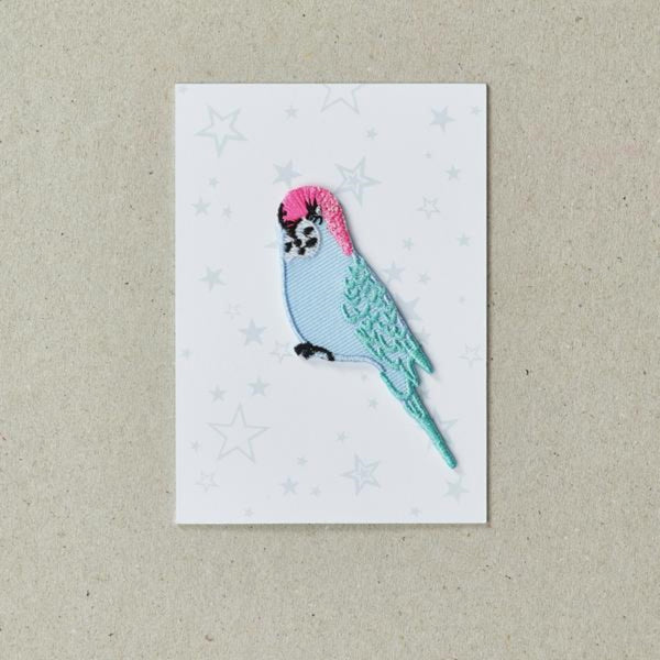 Blue budgie with pink head iron on patch.
