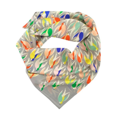 Silk scarf with multicoloured flying bird print