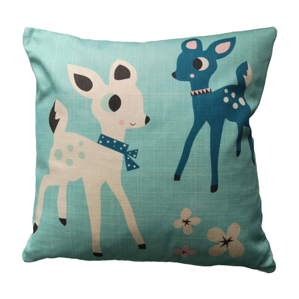 Feather cushions with a delightful design, two deers and some flowers.