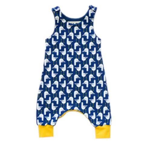Organic cotton babygrow with seagull print design.