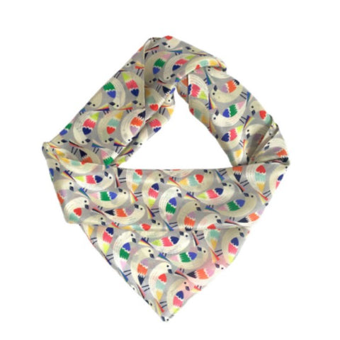 Silk scarf with multicoloured bird print